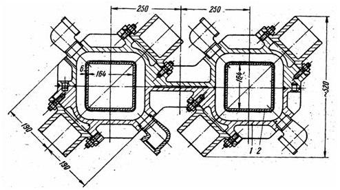 Реферат Исследование влияния режимов качания кристализатора  Рис 1 Поперечный разрез кристаллизатора для одновременной отливки двух слитков квадратного сечения